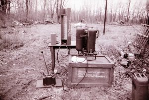 This is an original flamethrower hydrostatic test kit testing an M2-2 flamethrower in 1993. Photo by the author.